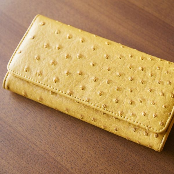 オーストリッチ調型押し長財布