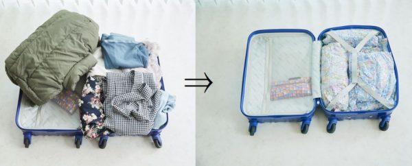 お手軽ボタニカル柄衣類圧縮旅行袋