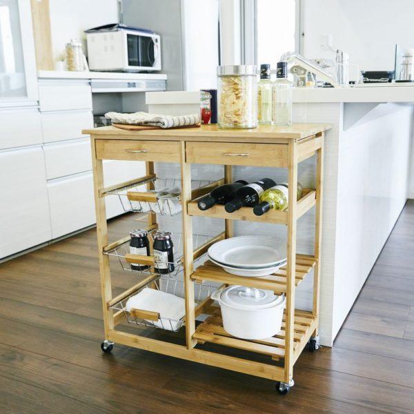 【販売終了】竹製キッチンワゴン