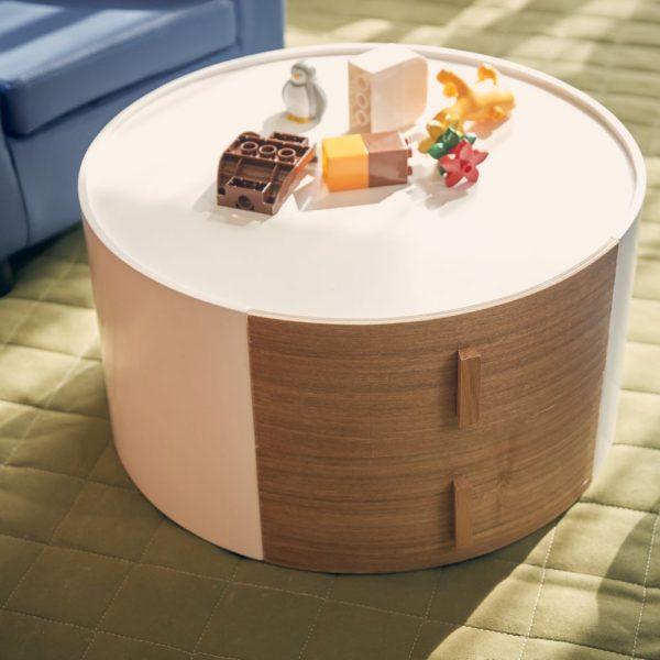 引き出し付き丸型サイドテーブル